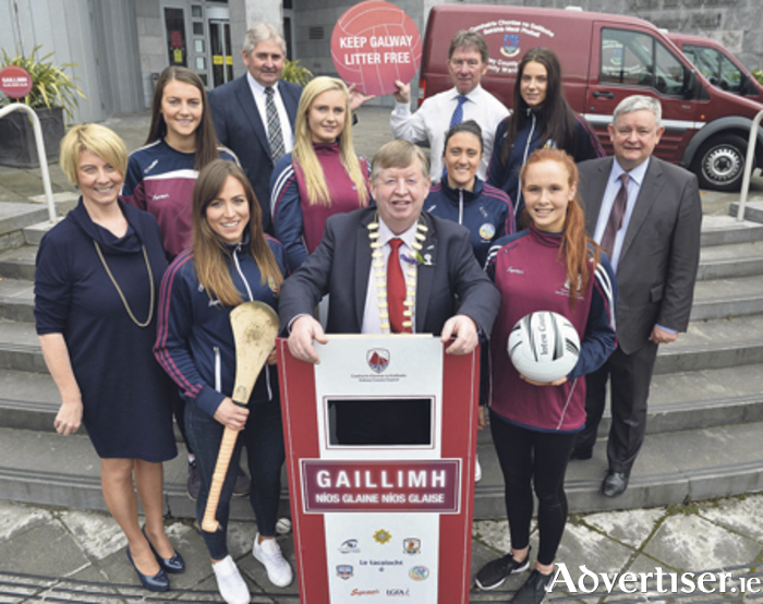Michael Connolly, Cathaoirleach of County Galway, with Sinead Ni Mhainnin, environment section of the Galway County Council,  Galway GAA stars  Heather Cooney, Ailish O'Reilly, Rebecca Henley, Marie Cooney,  Olivia Divilley and Aine McDonagh, with councillors Michael Maher and  Pete Roche, and Paul Moroney, senior engineer in environment section Galway County Council  at the launch of Galway County Council's 'Cleaner, Greener, Galway!' anti litter and illegal dumping awareness iniative.  Photo: Ray Ryan