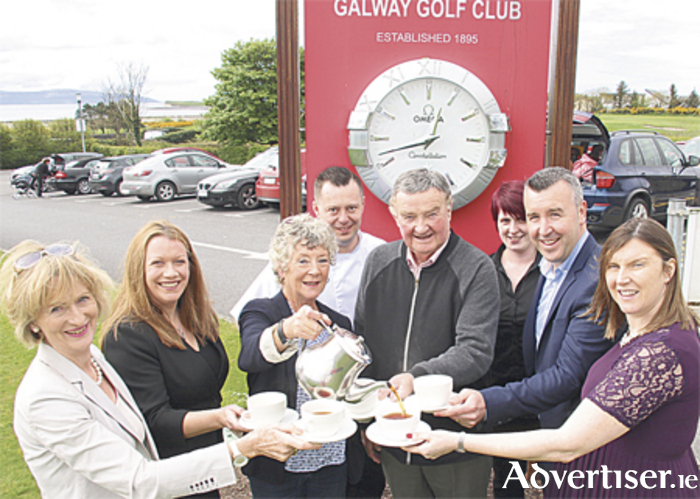 Every one for tea: Mary Heaslip pours team for (l-r) Phyllis Molloy; AIne Kilgallon of Western Alzheimers; Art Friel; David Wensley Galway Bay Gold Resort; and Lorraine Scully of Sherry Fitzgerald event sponsors .Also in the the photo are Chef Lucas Grass and Naomi Culliton of Galway Golf Club. Mary Heaslip and Phyllis Molloy will host a tea day in aid of Western Alzheimers on Wednesday May 3 at 10.30am in Galway Golf Club. Photo:-Mike Shaughnessy