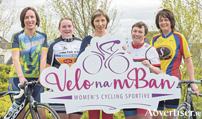 Pedal pushers: At the launch of the new women's cycling event, Velo na mBan, were from left; Ciara Finlay of Portumna CC, Helen Campbell of Croke Park to Killimor Cycle, World champion 20k walker Olive Loughnane, Niamh Lawless of Seven Springs CC, and Grainne Costello of An Rothar Cycling Club. Photo: Larry Morgan.