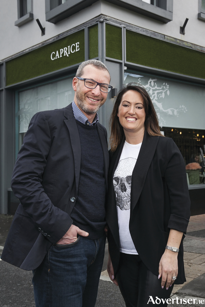 Italian Food Consultant Max Merli of Italicatessen with Vicky Casey owner of Caprice Cafe ahead of 'A Celebration of Italian Food and Wine' which takes place May 11th at Caprice Cafe. Tickets for this event are €30 per person and are available from Caprice Cafe, call 091 564781 or visit: www.caprice.ie      Photo: Paul Fennell