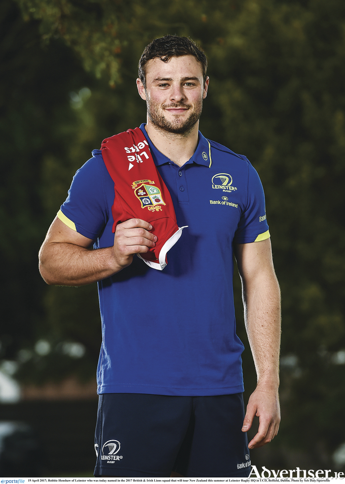 Robbie Henshaw is pictured at Leinster Rugby HQ in UCD, Belfield, Dublin, after being named part of the Lions squad to tour New Zealand this summer. Photo: Seb Daly/Sportsfile