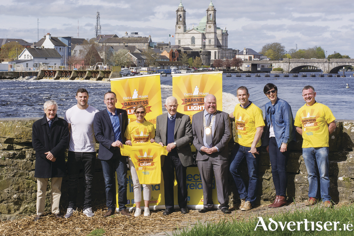 At the launch of this year's Darkness into Light walk are: Tony Kenny, Robbie Henshaw, Cllr Aengeus O'Rourke, Jannette Nestor, Paddy Kenny, Mayor John Dolan, Dessie Dolan, Carmel Carroll, and Colm Melia