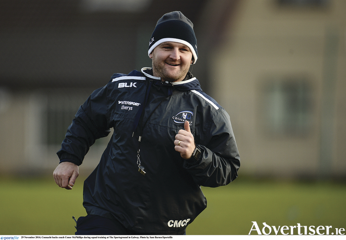 Connacht backs coach Conor McPhillips, 15 years after starting as a player in the province, says he wants to return as a more experienced coach. McPhillips is joining coach Pat Lam at Bristol next season.  Photo by Sam Barnes/Sportsfile