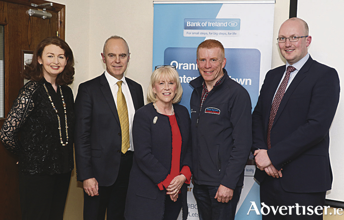 Mairín O'Reilly, Mór PR, Donal Kennedy, Branch Manager, Oranmore, Cllr. Martina Kinane, Chairperson, Bridge That Gap, Frank Byrnes, Frank Byrnes Autobody Repairs and Brian Carey, Regional Manager, Bank of Ireland pictured at the launch of the upcoming Bank of Ireland Enterprise Day which will take place in Calasanctius College on Saturday 13th May - All businesses, community organisations and members of the public welcome. Photo: Damien Burke