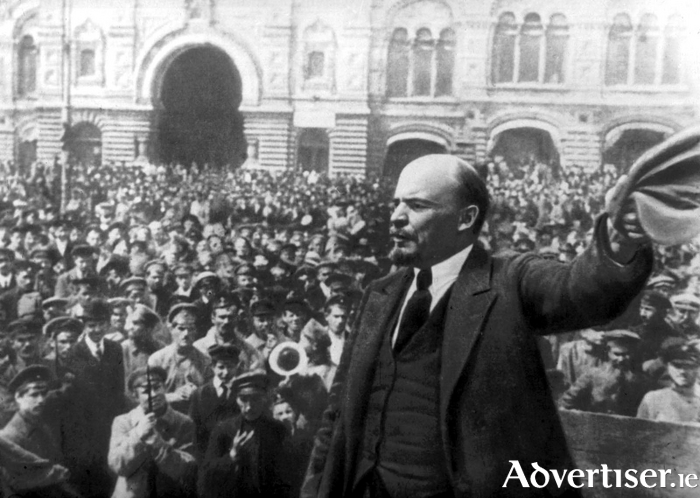 Lenin addressing crowds during the Russian Revolution.