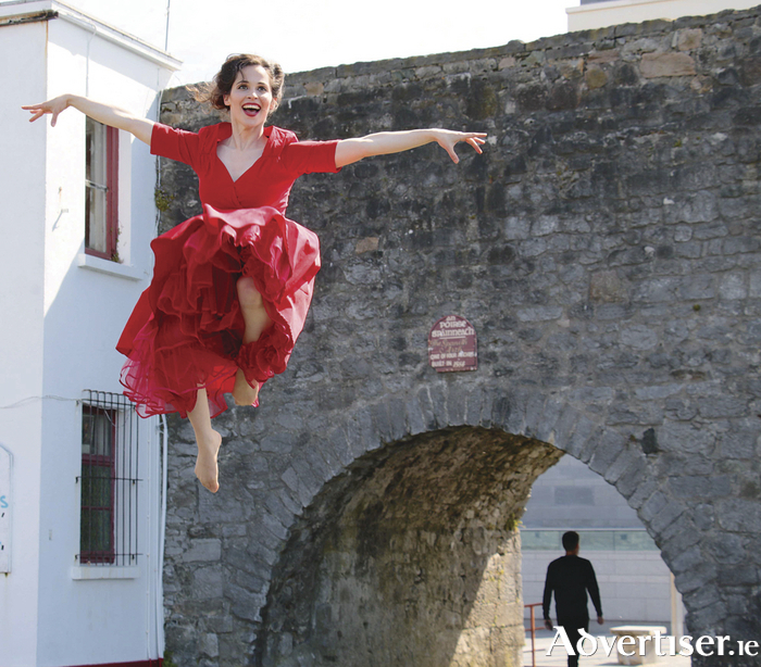 Pictured at the Spanish Arch: Galway dancer Stephanie Dufresne (who features on the cover of the festival programme) jumps for joy at the announcement of the programme for the 40th Galway International Arts Festival. GIAF runs from 17 - 30 July 2017 and tickets are now on sale from www.giaf.ie  Photo by Mike Shaughnessy