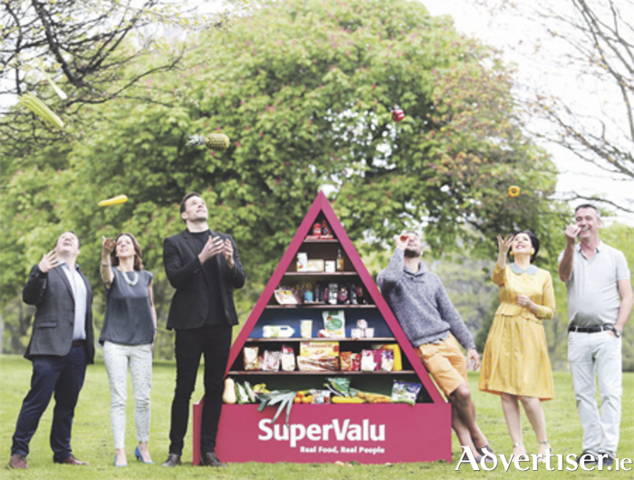 Pictured at the launch of SuperValu's 'Let's Get Ireland Cooking' campaign are: chef Michael O'Meara; Siobhan Berry of 'Mummy Cooks'; Bressie; Dave from The Happy Pear; Sharon Hearne-Smith; and chef Kevin Dundon. Photo: Leon Farrell/Photocall Ireland