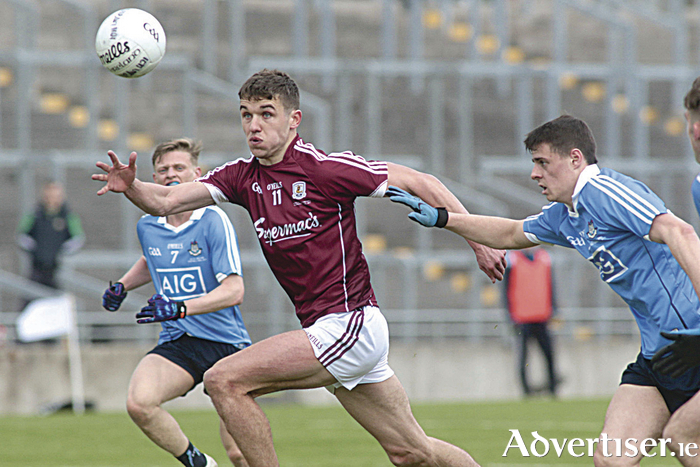 Micheál Daly of Galway in action from the EirGrid GAA Football All Ireland Under 21 Championship final against Dublin in Tullamore on Saturday.  				Photo:-Mike Shaughnessy