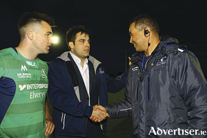 Long-serving Ronan Loughney  and Pat Lam after  the final Guinness Pro12 game at the Sportsground. Loughney, who has played for Connacht for 15 years, was one of several players farewelled on the night. 			Photo: Mike Shaughnessy