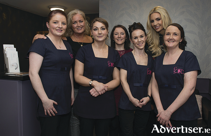 Geraldines Skincare consultants Zita, Olwyn, Geraldine, and Breege at a recent launch with Rosanna Davison and Sallyanne Clarke. Photo: Michael McLaughlin.