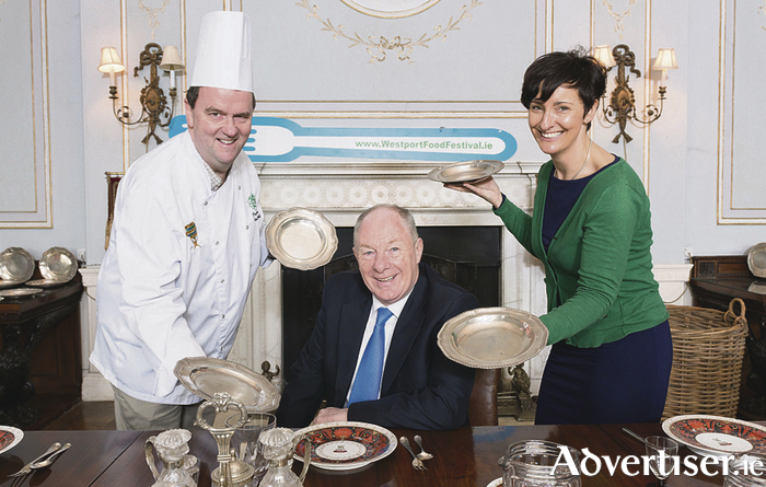 Pictured at the launch of Westport Food Festival 2017 which took place at Westport House were: Eoin McDonnell (chairman of Westport Food Festival and head chef Wyatt Hotel), Minister Michael Ring, and Biddy Hughes (Westport House). Photo: Michael Mc Laughlin.