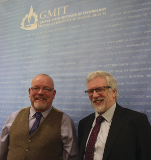 Historians Fergus Whelan and Terry Moylan at last weekend's Mayo Day events in GMIT.
