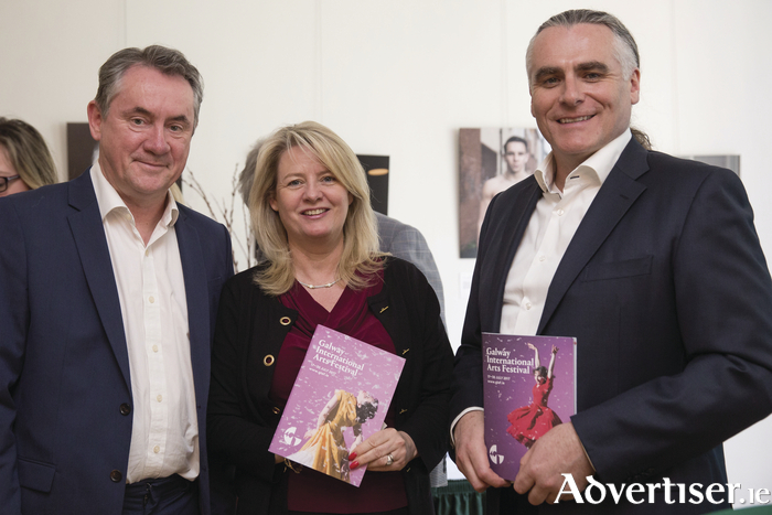 Galway International Arts Festival CEO John Crumlish, Tourism Ireland's Ruth Moran, and Galway International Arts Festival artistic director Paul Fahy, in the Consulate General of Ireland, New York, to mark the 40th Galway International Arts Festival. Photo:- Amanda Gentile