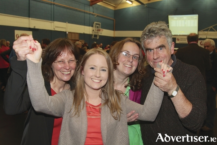Sinn Féin's Mairead Farrell and her family celebrate her election to the Galway City Council in 2014. Could she yet become a Galway West TD? Photos by Mike Shaughnessy