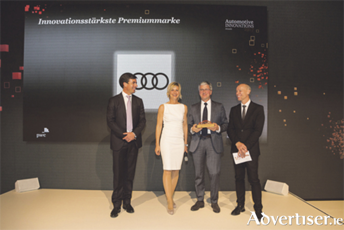 Professor Rupert Stadler, chairman of the board of management of AUDI AG (second right), is pictured receiving the award alongside Felix Kuhnert, global automotive advisory leader at PwC; ZDF-moderator, Barbara Hahlweg; and Dr Stefan Bratzel, director at the Center of Automotive Management