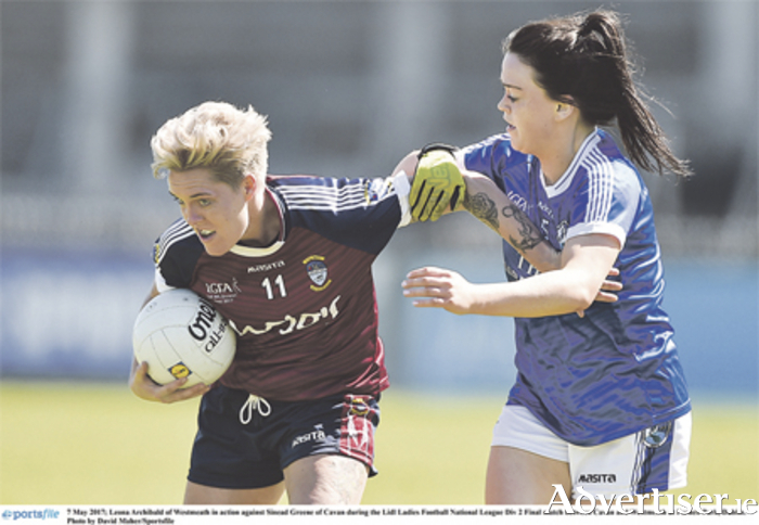 Leona Archibald holds Sinead Greene at bay during Westmeath Ladies' Football National League Div 2 Final against Cavan at Parnell Park, Dublin. Photo: David Maher/Sportsfile
