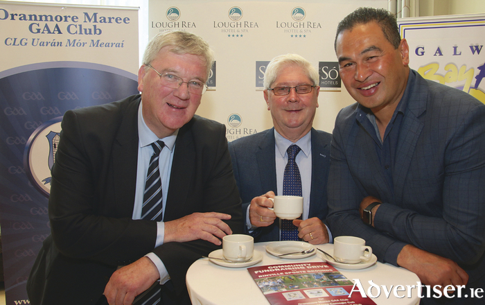 Chairman of Oranmore Maree GAA club with guest speakers Pat McDonagh (left) of Supermacs and Pat Lam Connacht Rugby coach at the Oranmore Maree GAA Club fundraising breakfast hosted by The Lough Rea Hotel & Spa on Tuesday.  Photo:-Mike Shaughnessy