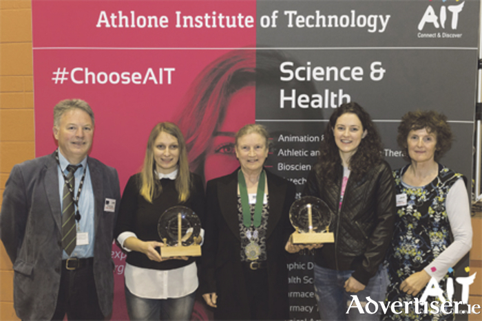 Award winning students Vlasta Chyzna and Lisa Kelly are pictured with Dr Sean Reidy (AIT), Dr Ann O'Malley (AIT), and Margaret Franklin, retired chemistry lecturer at AIT and current president of the Institute of Chemistry of Ireland
