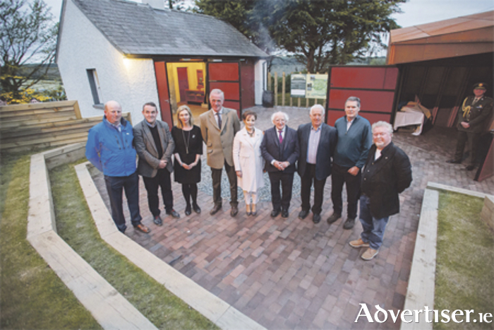 Pictured at the new visitor centre at the Hill of Uisneach are: Padraig Bracken, building  contractor; Frank Cooney, architect; Marie McCormac, Failte Ireland; David and Angela Clarke, promoters/landowners; Uachtarán na hÉireann, Michael D Higgins; Cllr Tom Farrell; Terence McCague, Westmeath County Council; and Alan Hill, project advisor.  Photo: Jeff Rogers