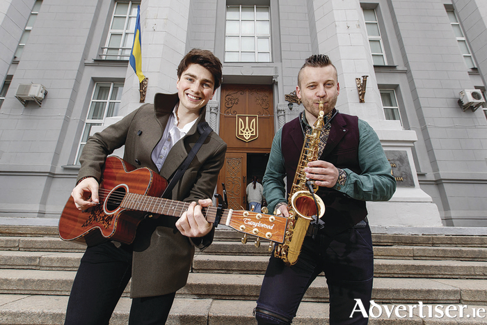 Brendan Murray is pictured with local musician Alexander Syval out and about in Kiev ahead of the second Eurovision semi-final on Thursday night. Picture Andres Poveda