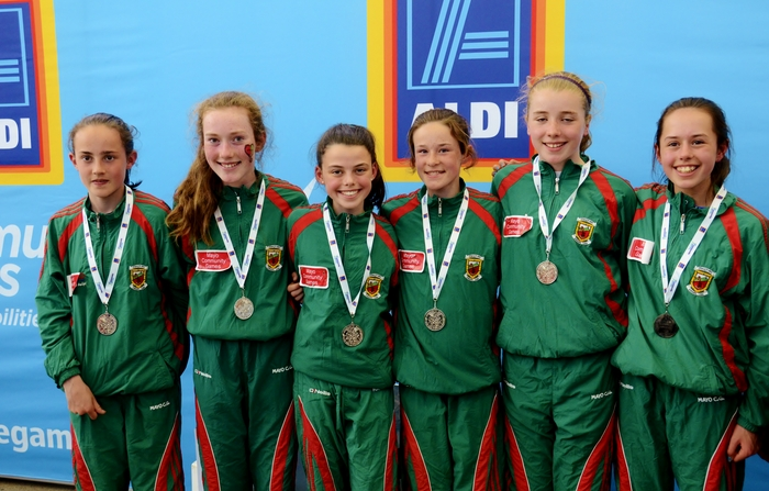 The Mayo community games girls' U14 mixed distance relay team who finished the event with the silver medals at the Community Games in Dublin last weekend. Aisling Flanagan (Breaffy), Moya O'Connell (Ballinrobe), Ava Flynn (Castlebar), Roisin O'Brien (Islandeady), Ella Deely (Turlough Towers), and Willow McConville (Hollymount).