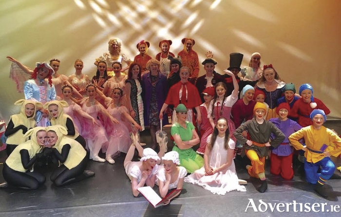 The Youth Ballet West cast pictured with Sabina Higgins at the Town Hall Theatre last weekend.