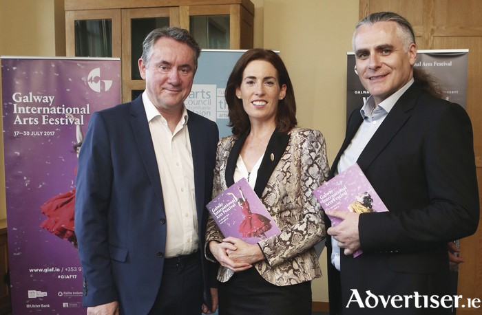 Pictured at this week's GIAF 2017 launch in Dublin are festival CEO John Crumlish, Hildegarade Naughton TD, and GIAF artistic director, Paul Fahy. Photo:- Leon Farrell/Photocall Ireland.