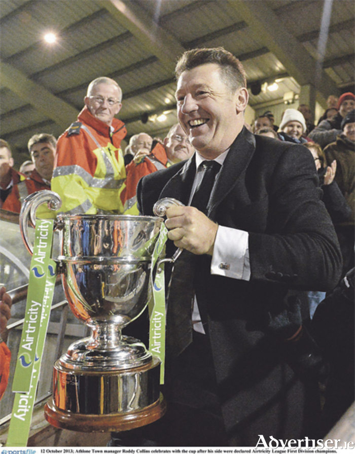 Collins is pictured with the First Division cup back in 2013 during happier times for the club.  Photo: Barry Cregg/SPORTSFILE