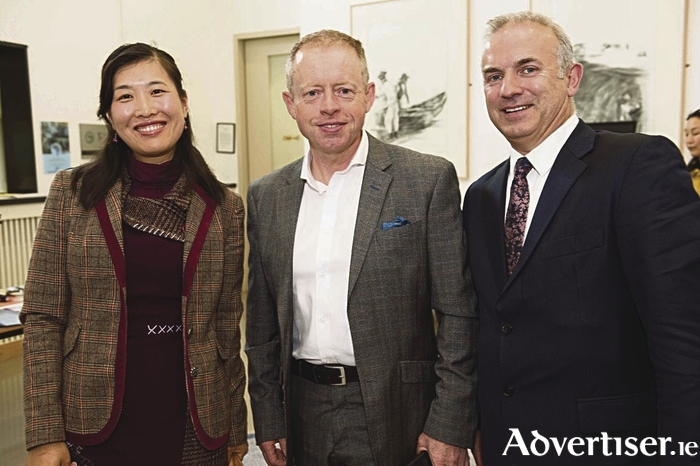 At the launch were Cathy Gang, Chinese teacher in Galway , Ciaran Cannon TD and Bernard Kirk of the Galway Education Centre.Photo:Andrew Downes, xposure