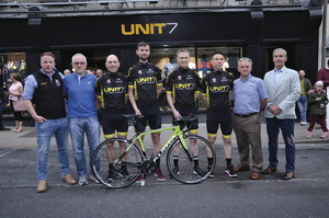 Ready for the Rás: The Castlebar CC UNIT 7 Rás team at their launch. Left to right:  Richard Needham, Ian Gaurlay, Chris Troy, David Brennan, David Walshe, Jonathan Caulfield, Vincent Jordan and John Brennan. Photo John Moylette.