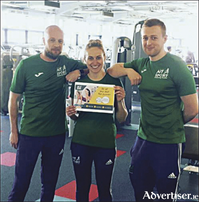 AIT Sport fitness Instructors Anthony Rickard, Dora Curley, and David Fagan, launching the AIT Sport 'Be At Your Best This Summer' campaign