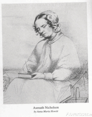 Aesnath Nicholson, writing her journal, as she walked through Ireland during the Great Famine of the 1840s.