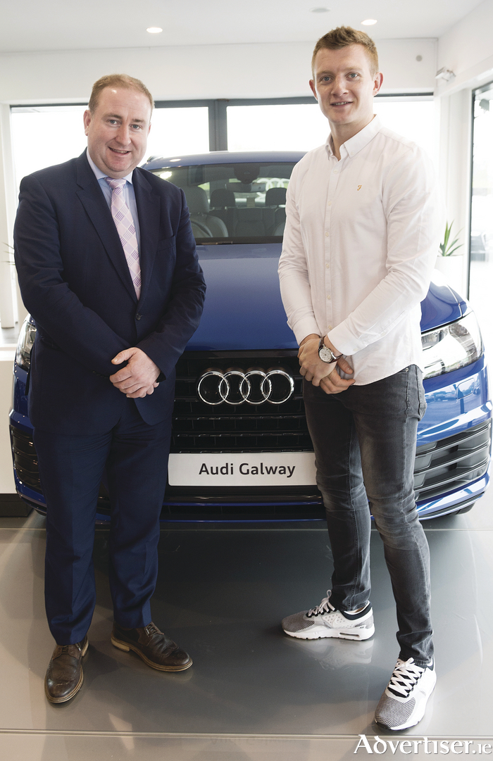 Galway hurler Joe Canning at Audi Galway, pictured with Mattie Egan, Audi brand manager Briarhill Business Park, Ballybrit, Galway  Photo: Andrew Downes, xposure
