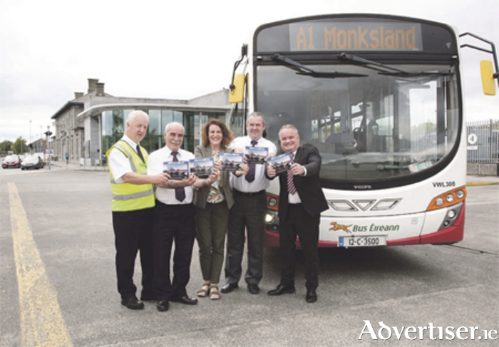 Launching the new Athlone Town service brochure at Athlone Bus Eireann Station are: Paul Gillespie, inspector; Gerry Kelly, inspector; Marie King McGovern, sales executive; Liam Burke, driver; and Denis Maher, services manager