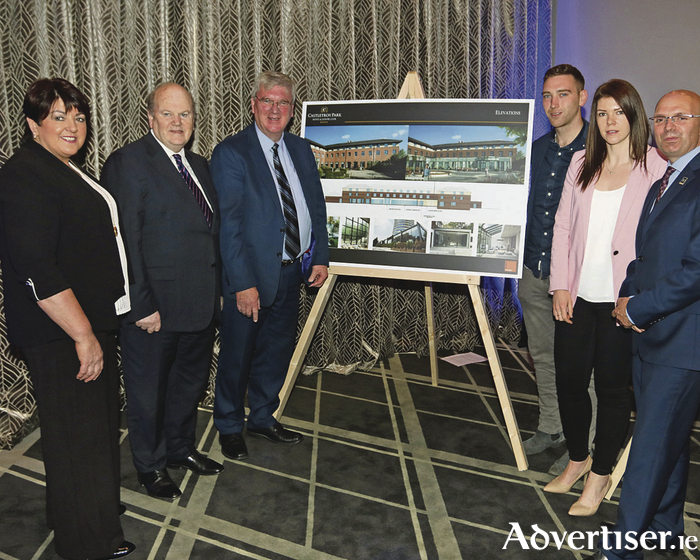 Una and Pat McDonagh with the Minister for Finance, Michael Noonan, showing the proposed developments at Castletroy Park Hotel with their son John McDonagh and daughter Marie McDonagh, and general manager, Lee Greyson. Picture Brendan Gleeson