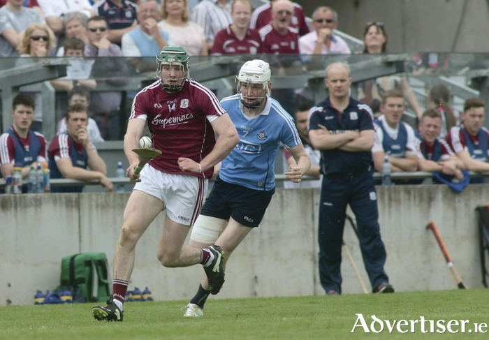 Galway manager Michéal Donoghue watches Cathal Mannion pull away from Dublin's Shane Barrett in action from the Leinster Hurling Championship quarter final at O'Connor Park, Tullamore on Sunday. Photo:-Mike Shaughnessy
