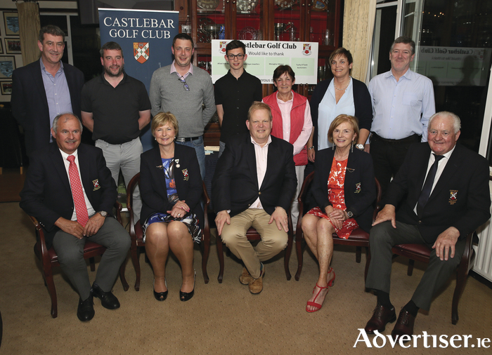 Winners of last weekend's competition in Castlebar Golf Club sponsored by Tuohy O'Toole auctioneers pictured at the prize giving event. Back row: Albert Dravins, Mick Kilcourse, Billy Evans, Alex Evans, Ger Lyons, Breda Gilvarry, and Eamon Glancy. Front row: Noel Burke (captain), Marian Martyn (lady captain). Peter Tuohy (sponsor), Ann McGovern (lady president), and Michael O'Malley (president). Photo: Michael Donnelly.
