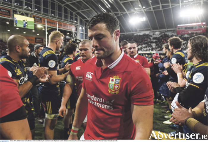 A dejected Robbie Henshaw leaves the pitch after the British & Irish Lions suffered a 23-22 defeat to the Highlanders at Forsyth Barr Stadium in Dunedin, New Zealand. Photo: Stephen McCarthy/Sportsfile