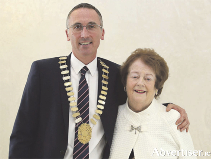 New Mayor of Athlone, Aengus O'Rourke, with his mother and former mayor Mary O'Rourke at the Civic Centre on Monday evening. Photo: Mags Cunney