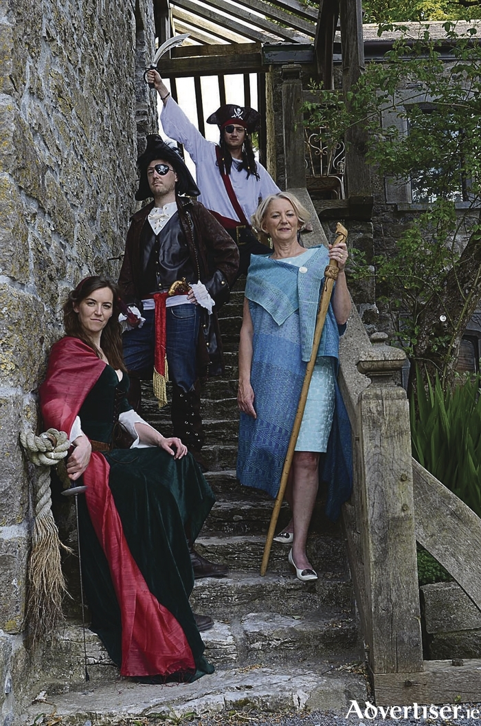 Galway architect Sarah Kelly, (in blue) the Chieftain of the O'Malley clan, pictured at Claregalway Castle for the launch of the O'Malley Rally next week.