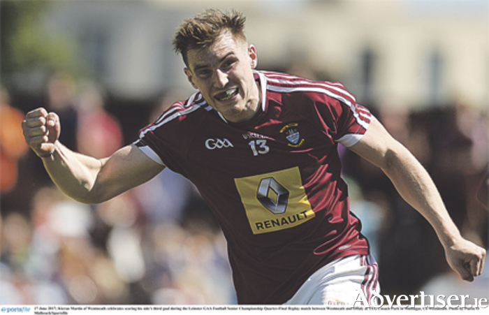 Kieran Martin of Westmeath celebrates scoring his side's third goal. Photo: Piaras O'Midheach/Sportsfile