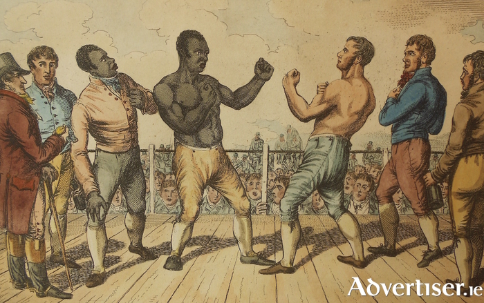 A 19th century depiction of Tom Molineaux fighting.