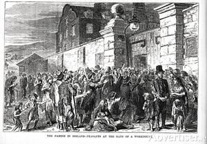 Scenes of despair outside the workhouse at the height of the Great Famine. Children were often abandoned by their parents as they sought work elsewhere. Most of the residents were girls and women.
