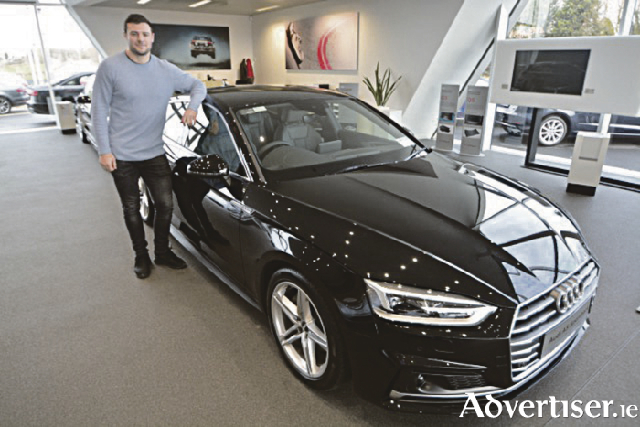 Robbie Henshaw, Audi Athlone brand ambassador, with the 172 inspiration range at Audi Athlone