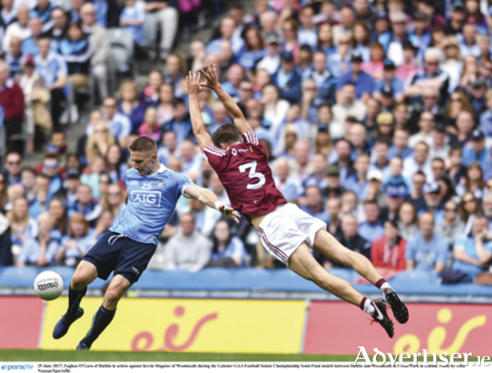 Kevin Maguire of Westmeath charges down Eoghan O'Gara.  Photo: Eoin Noonan/Sportsfile