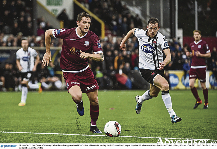 Lee Grace of Galway United in action against David McMillan of Dundalk  at Oriel Park,