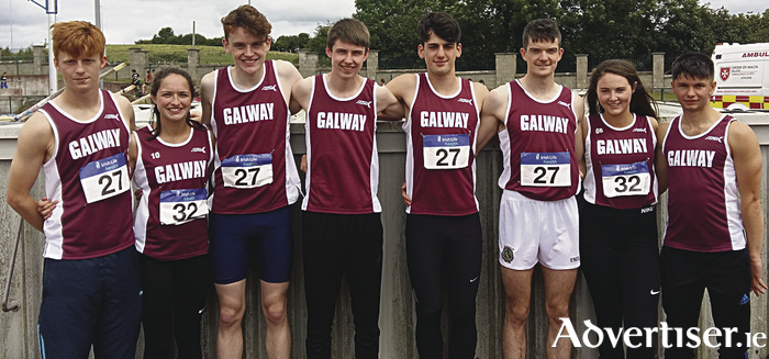 Athletes representing County Galway in Sunday's National  Track and  Field Athletics League, Ryan McNeilis, Lorraine Delaney, Jerry Keary, Jack Miskella, Ben Garrard, Gavin Cooney, Aoife Walsh, and Patrick Woleniuk.