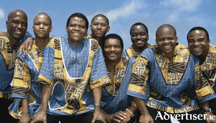 Ladysmioth Black Mambazo, with Albert Mazibuko (last on right)