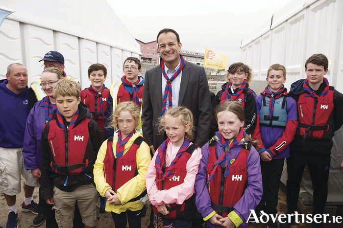 An Taoiseach Leo Varadkar with the Galway Sea Scouts at Seafest 2017, the National Maritime Festival which ran at the weekend in Galway. . 					Photo:Andrew Downes, xposure .
