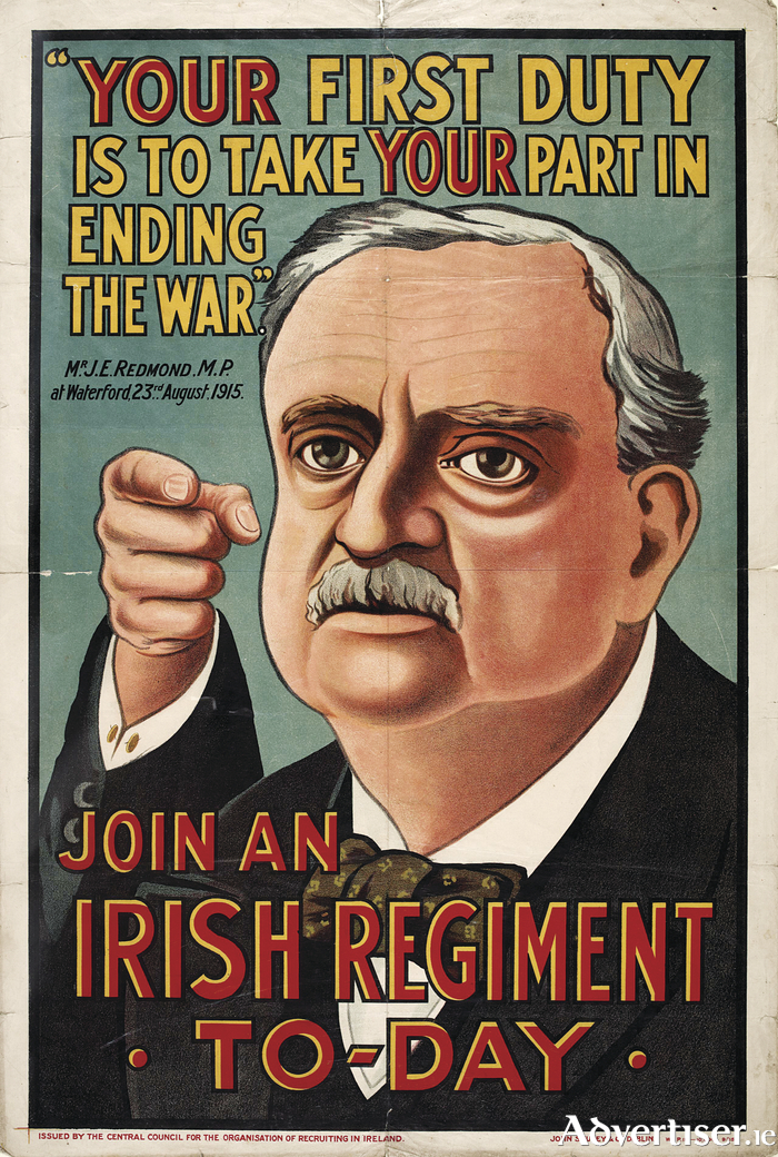 John Redmond MP urging Irishmen to join the British army.